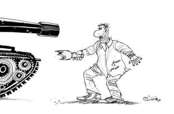 كاريكاتير علي فرزات - الثوار والنظام