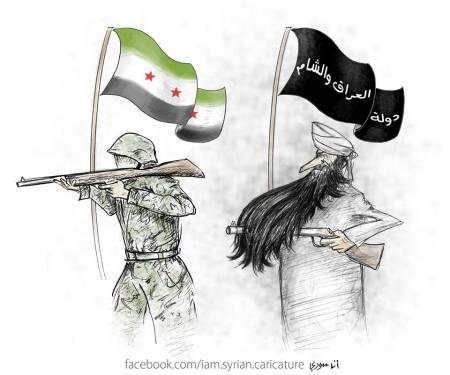 كاريكاتير الجيش السوري الحر وجبهة الشام والعراق