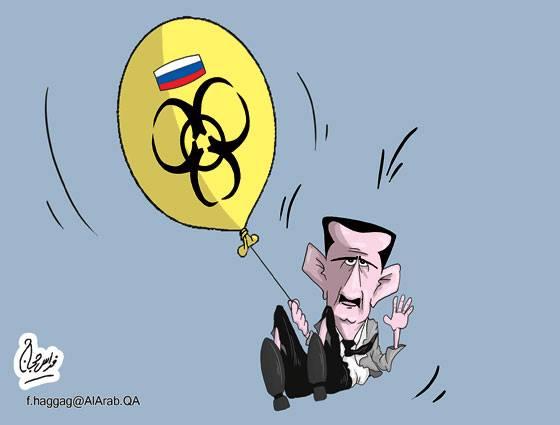 كاريكاتير بشار الكيميائي وروسيا