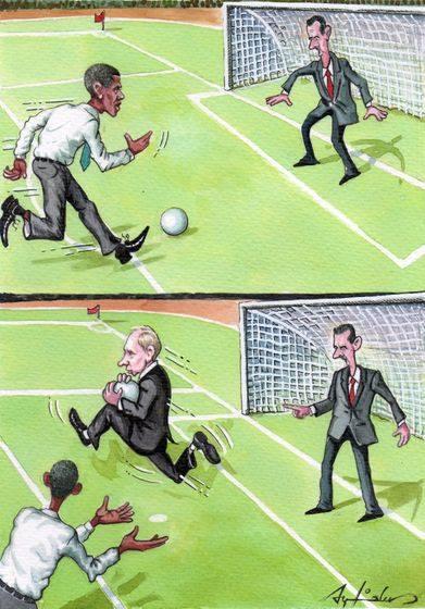 كاريكاتير بشار وبوتين وأوباما