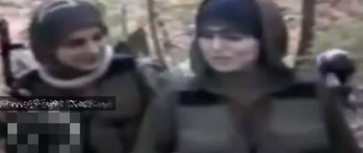 """لقطة من فيديو قدمت على أنها لـ""""مجاهدات تونسيات"""" من قبل القنوات الفريبة من النظام السوري، لكنها في الحقيقة لمقاتلات شيشانيات ويعود تسجيلها لسنة 2010."""