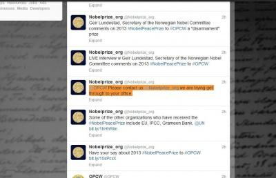 تغريدة جائزة نوبل التي تطلب من منظمة حظر الكيماوي بالتواصل