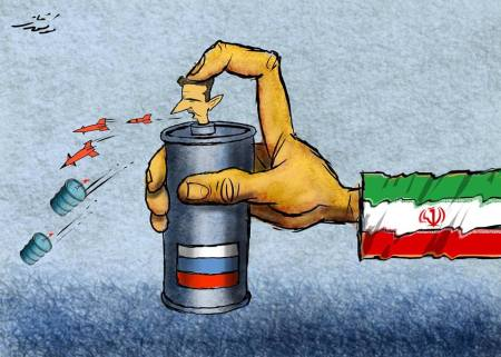 كاريكاتير بشار وإيران وروسيا